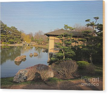Tea House Wood Print by Kathie Chicoine