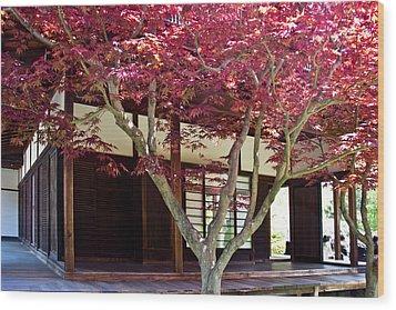 Tea House Thru The Maple Wood Print by Tom Gari Gallery-Three-Photography
