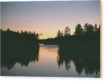 Wood Print featuring the photograph Tea Lake Sunset by David Porteus