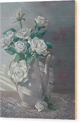 Tea Pot Roses Wood Print