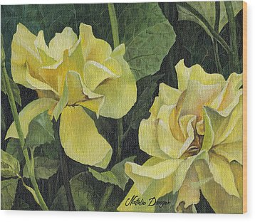 Tea Rose Wood Print by Natasha Denger