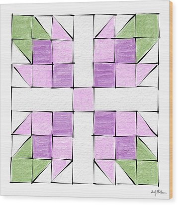 Tea Rose Quilt Block Wood Print