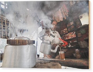 Tea Seller Wood Print by Money Sharma