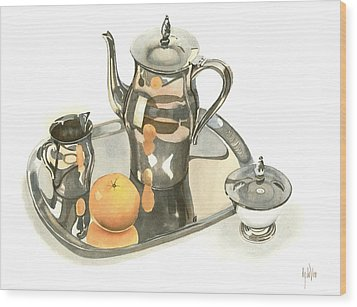Tea Service With Orange Dramatic Wood Print by Kip DeVore