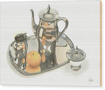 Tea Service With Orange Wood Print