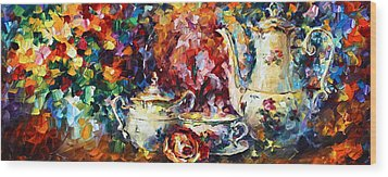 Tea Time 2 Wood Print by Leonid Afremov