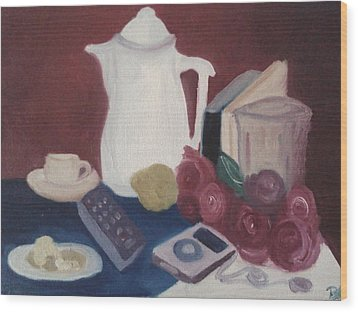 Wood Print featuring the painting Tea Time by Darlene Berger