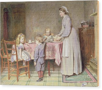 Tea Time Wood Print by George Goodwin Kilburne
