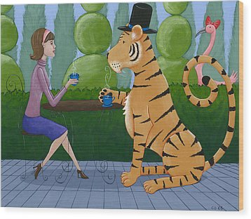 Tea With A Tiger Wood Print by Christy Beckwith