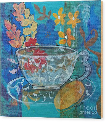 Wood Print featuring the painting Tea With Biscuit by Robin Maria Pedrero