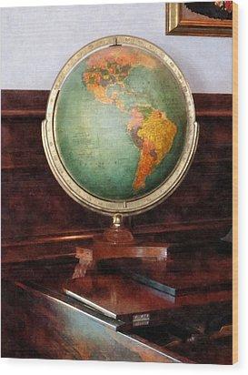 Teacher - Globe On Piano Wood Print by Susan Savad