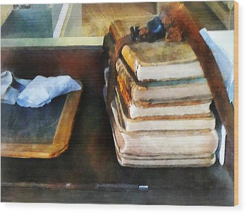 Teacher - Old School Books And Slate Wood Print by Susan Savad
