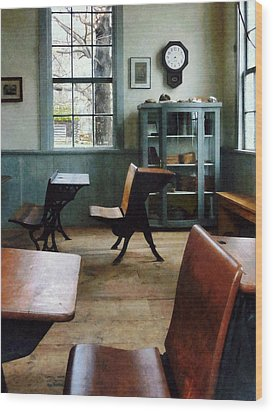 Teacher - One Room Schoolhouse With Clock Wood Print by Susan Savad