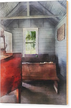 Teacher - One Room Schoolhouse With Hurricane Lamp Wood Print by Susan Savad