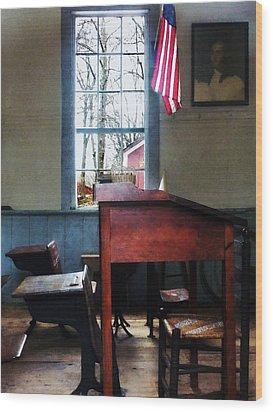 Teacher - Schoolmaster's Desk Wood Print by Susan Savad