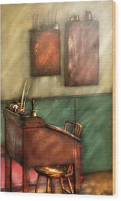 Teacher - The Teachers Desk Wood Print by Mike Savad
