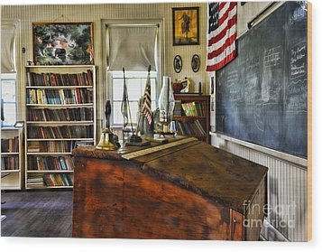 Teacher - Vintage Desk Wood Print by Paul Ward