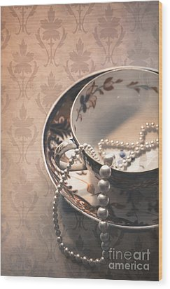 Teacup And Pearls Wood Print