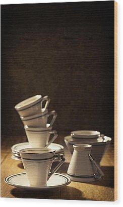 Teacups Wood Print by Amanda Elwell