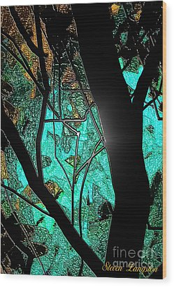 Wood Print featuring the painting Teal And More by Steven Lebron Langston