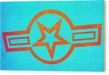 Teal And Rust Fighter Star Wood Print by Holly Blunkall
