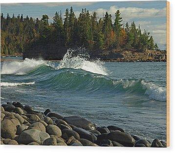 Teal Blue Waves Wood Print by Melissa Peterson