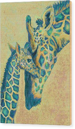 Teal Giraffes Wood Print