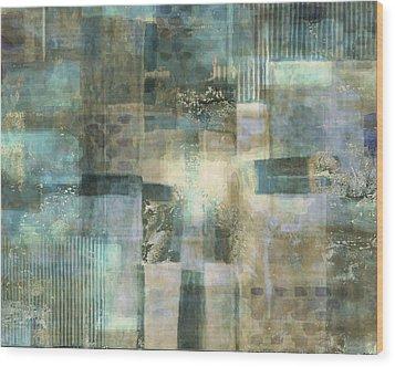 Teal Luminous Layers Wood Print by Lee Ann Asch