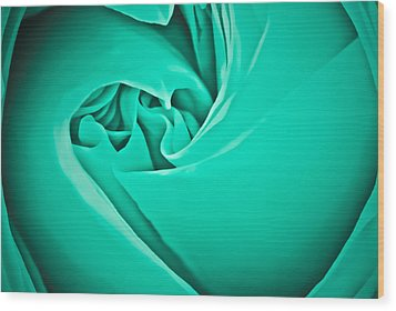 Wood Print featuring the photograph Teal Rose-duvet Cover by  Onyonet  Photo Studios