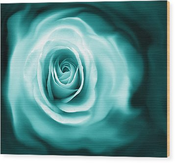 Teal Rose Flower Abstract Wood Print by Jennie Marie Schell