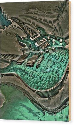 Teal Steel Digital Guitar Art By Steven Langston Wood Print by Steven Lebron Langston