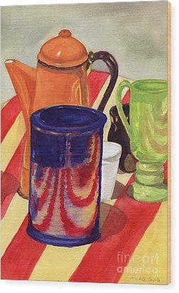 Teapot And Cup Still Life Wood Print by Mukta Gupta