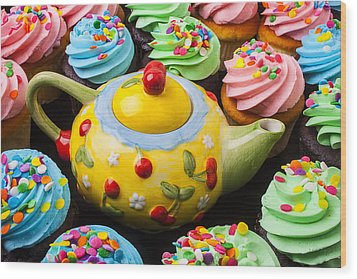 Teapot And Cupcakes  Wood Print by Garry Gay