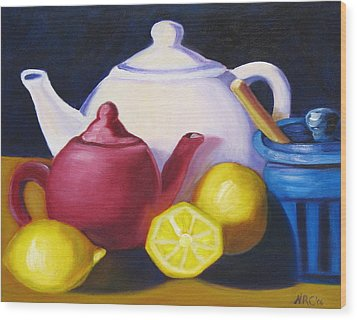 Teapots In Primary Colors Wood Print