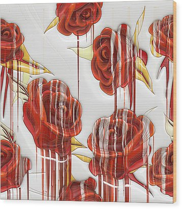 Wood Print featuring the digital art Tear-stained Roses by Liane Wright