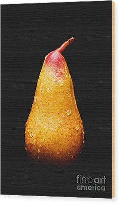 Tears Of A Sad Pear Wood Print by Andee Design