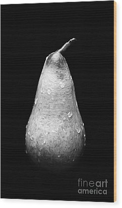 Tears Of A Sad Pear In Silver Wood Print by Andee Design