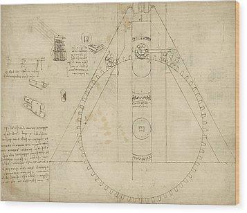 Teaseling Machine From Atlantic Codex Wood Print by Leonardo Da Vinci
