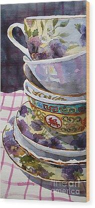 Teatime Wood Print by Marisa Gabetta