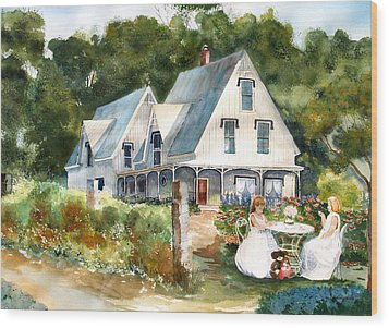 Teatime Wood Print by Susan Crossman Buscho
