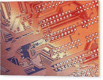 Tech Abstract Wood Print by Tony Cordoza