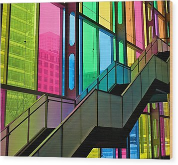 Technicolour Stairway Wood Print by Trever Miller