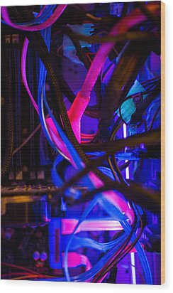 Technology Wood Print by Mike Lee