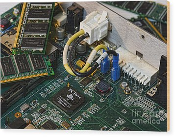 Technology - The Motherboard Wood Print by Paul Ward