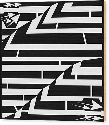 Techthonic Zig-zag Maze  Wood Print by Yonatan Frimer Maze Artist