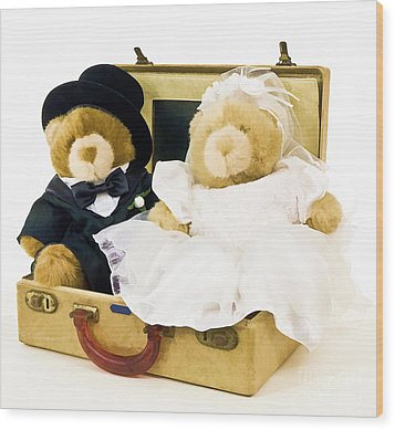 Teddy Bear Honeymoon Wood Print by Edward Fielding