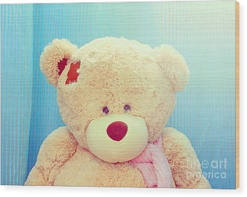 Wood Print featuring the photograph Teddy Bear by Mohamed Elkhamisy