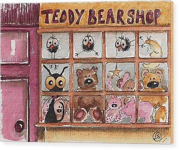 Teddy Bear Shop Wood Print by Lucia Stewart