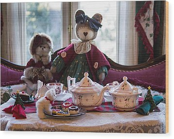 Teddy Bear Tea Party Wood Print