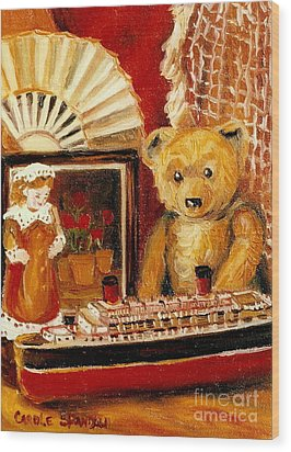 Teddy Bear With Tugboat Doll And Fan Childhood Memories Old Toys And Collectibles Nostalgic Scenes  Wood Print by Carole Spandau